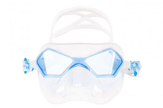 Маска Salvimar INCREDIBILE прозрачный силикон/голубые линзы