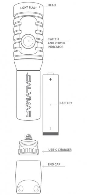Фонарь Salvimar BLAST 1200 люмен, 1 диод, 1 аккумулятор 18650